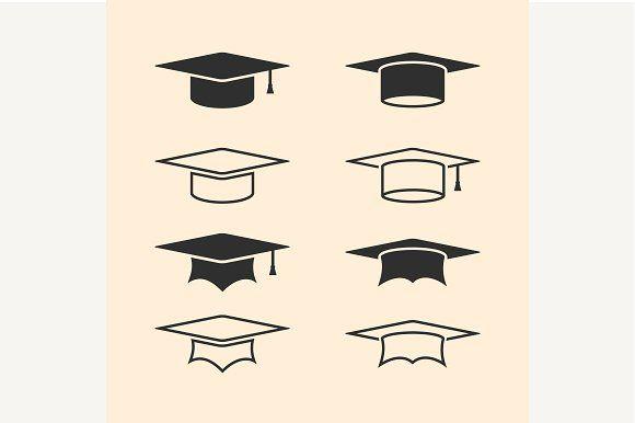 Graduation cap logos by kanva777 on @creativemarket