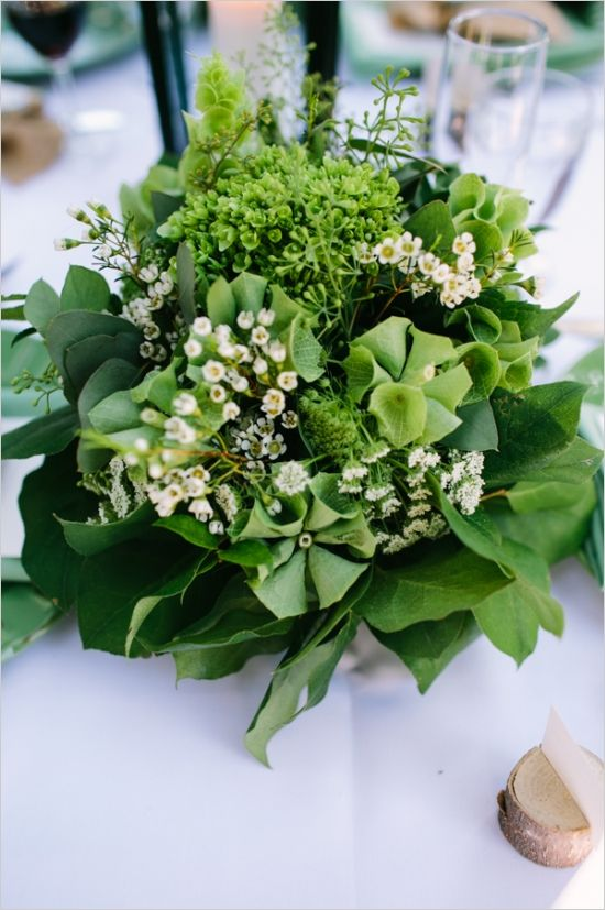 Romantic Woodland Big Bear Wedding for under $24,000/green floral centerpiece by glasswing floral