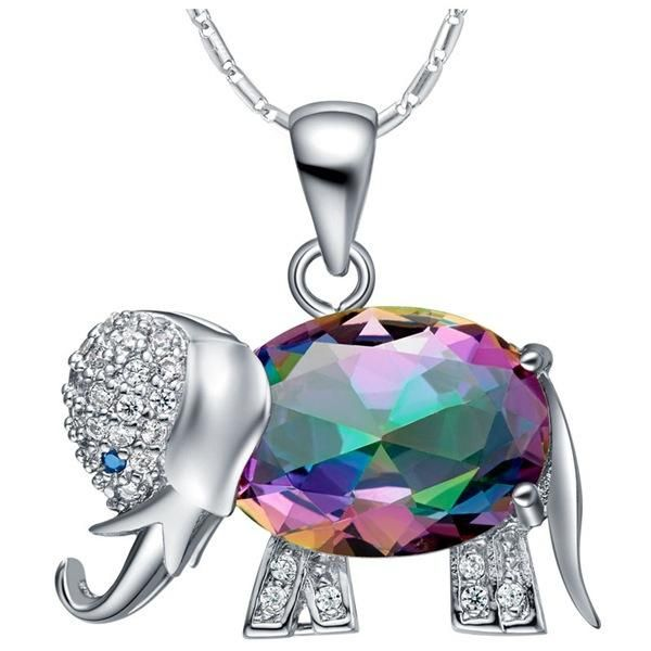 925 Silver jewelry for women white gold plated multicolor crystal elephant Crystal Elephant Rhinestone Necklace 🐘💙  Shop Elephant Necklace Here: http://bit.ly/2AoDN60  #Elephant #Wildlife #Safari #Nature #Diamonds