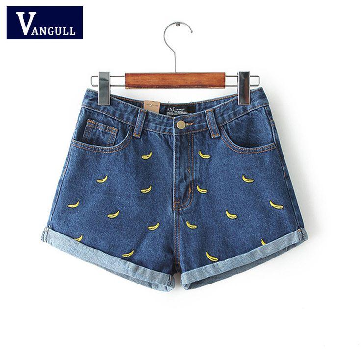 Женщины лето цветок банана вышивка хлопок джинсовые шорты 2016 плойки Большой размер свободного покроя женские джинсы талии шорты купить на AliExpress