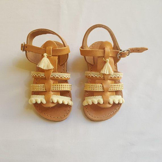 Boho Gladiator Sandals, Greek Sandals, Leather Sandals, Pom pom Sandals, Kids Sandals
