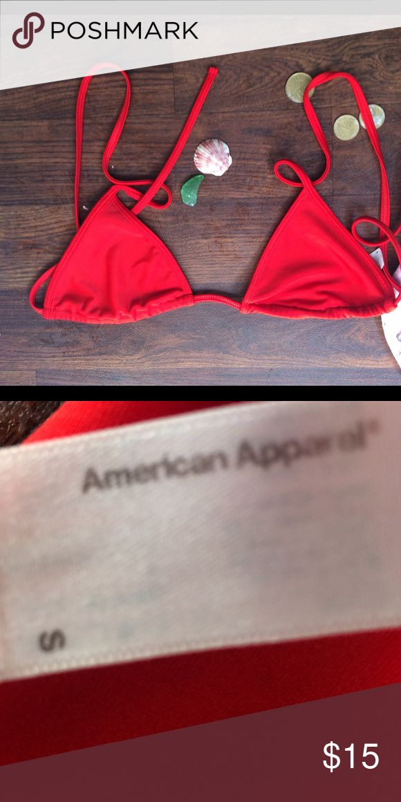 Bright Red American Apparel Bikini Top Bright red, triangle Bikini Top by American Apparel American Apparel Swim Bikinis