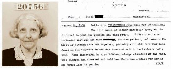 Mrs. Ethel #20756, a patient at Willard Insane Asylum for 43 years