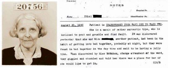 Mrs. Ethel #20756, a patient at Willard Insane Asylum for 43 years