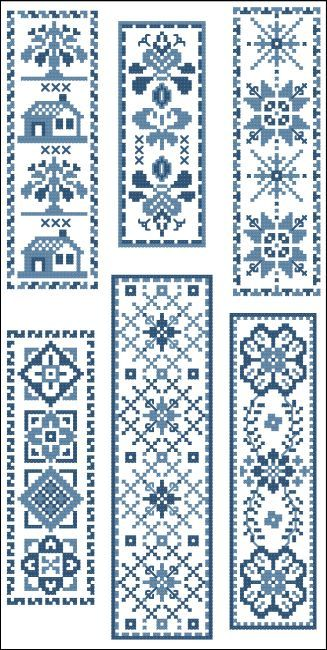 Victorian Bookmarks Blue Collection 2 : MiniCrossStitch, The World of Small Stitchery