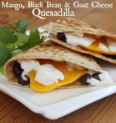 Mango, Black Bean and Goat Cheese Quesadilla #appetizer #recipe