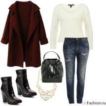 Уличный лук. Пушистый свитер, бойфренды и бордовое пальто