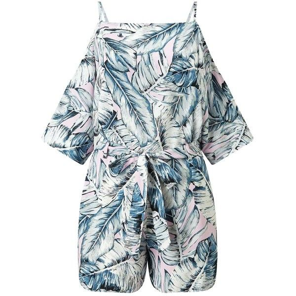 Miss Selfridge Pink Palm Print Playsuit ($74) ❤ liked on Polyvore featuring jumpsuits, rompers, assorted, pink rompers, blue rompers, miss selfridge, playsuit romper and pink romper