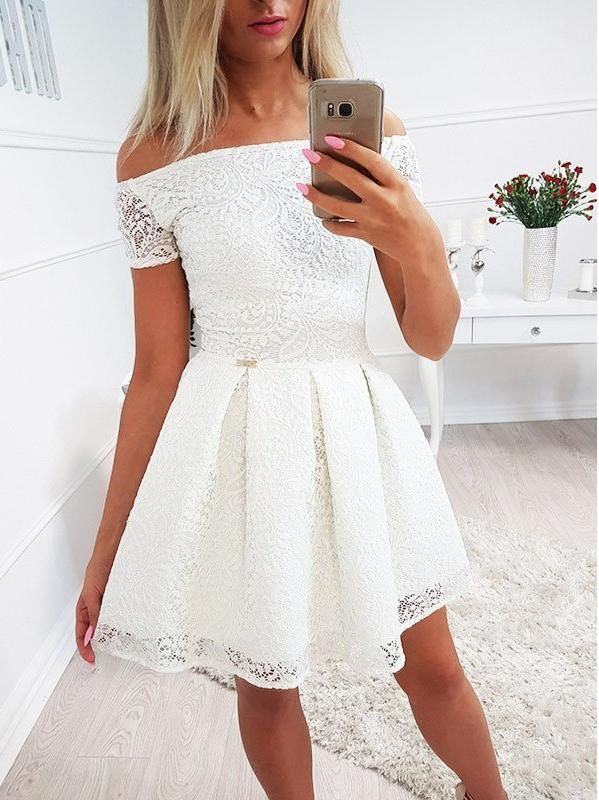 Ivory Off Shoulder Lace Homecoming Dresses For Teens ,BD0173