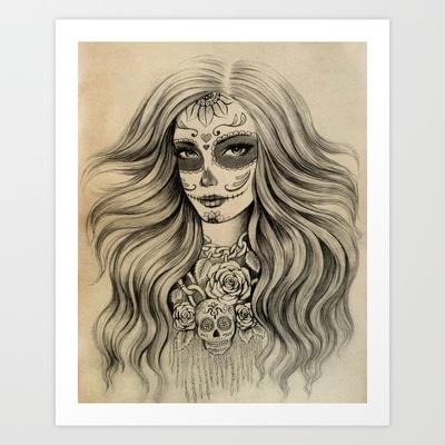 Sugar Skull Art Print by Vivian Lau - $18.00