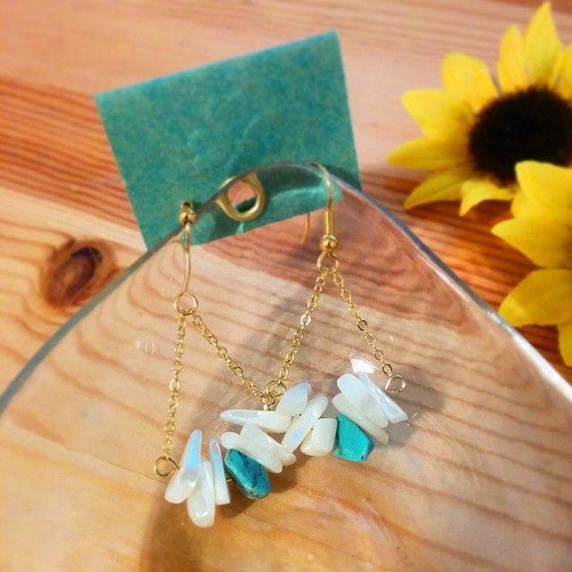夏用のピアス作ってみました♪ Made earrings for Summer!! #earrings #handmade #accessories #summer #ピアス #アクセサリー #てづくり #夏