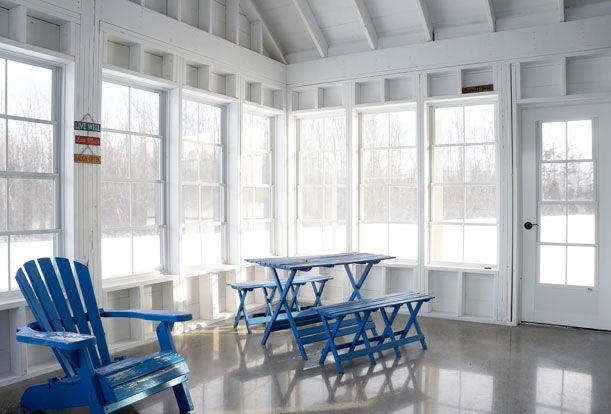 Screened-in porch off the east end of the Great Room.  Passive Solar Design | Sustainable Building | Solares Architecture