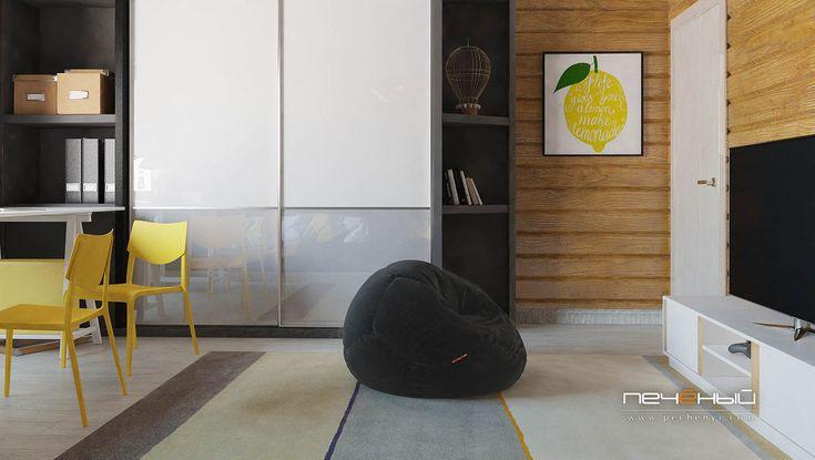 """Дизайн интерьера детской в деревянном доме в современном стиле. Серый, белый, чёрный, коричневый, жёлтый, дерево. Студия дизайна """"Печёный""""."""
