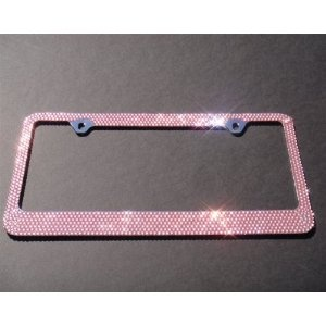Bling 7 Rows Pink(C- Screw Cap Type)Crystal Rhinestone-Metal Chrome License Plate Frame with Two Caps