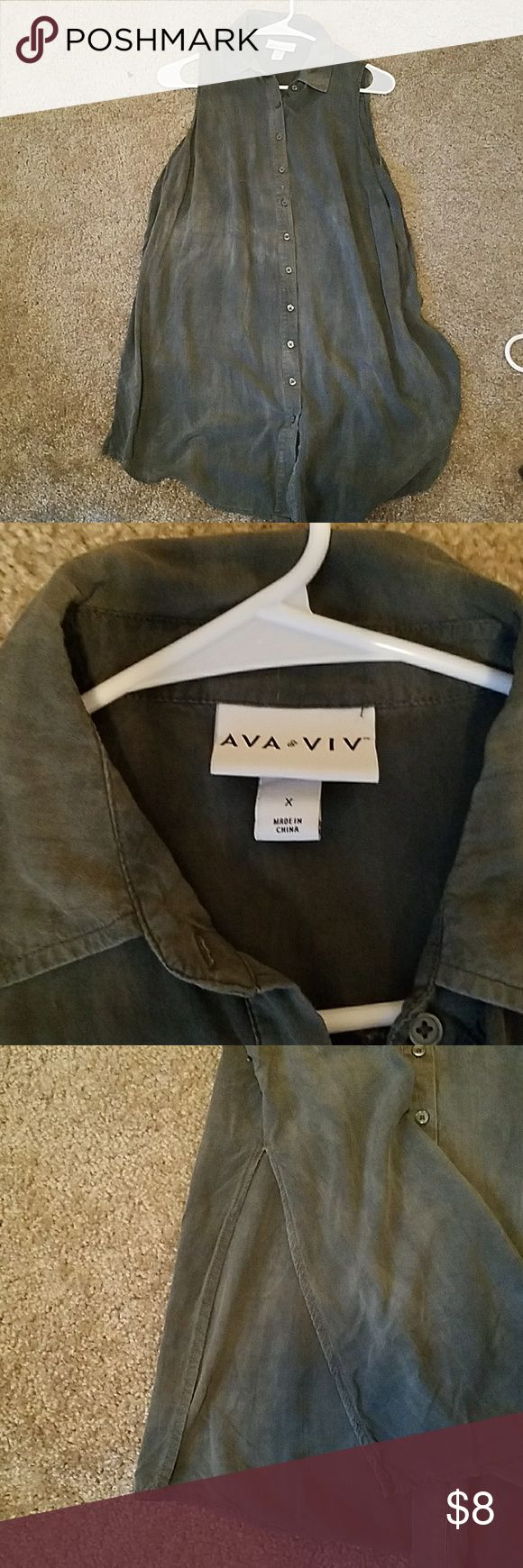 AVA & VIV dark green button down tank Has an acid wash look. Button down with collar. Hits about mid thigh, slits in side go up to waist. Super cute for a longer layer under a sweater! Size X. Fit like a womens med. Ava & Viv Tops
