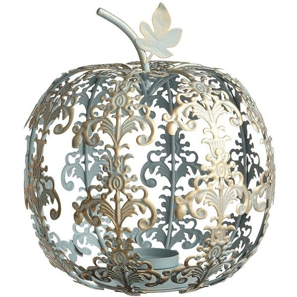 Pier One Scroll Pumpkin Tealight Holder - Blue - Pier 1 Imports - Polyvore