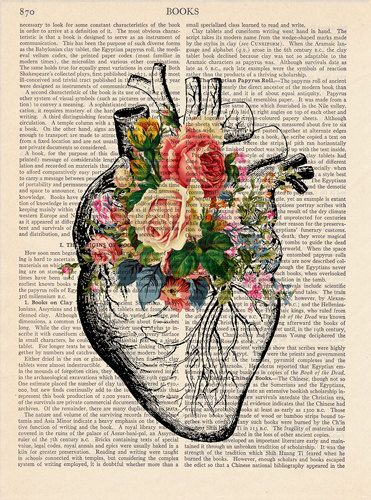 Heart with Roses Upcycled Page book Print Vintage Illustration Wall decor Decorative Art Book Page Retro Poster 037 – Rosie-Mae Gionet