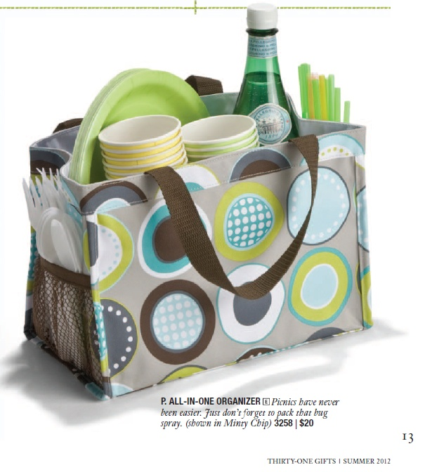 Love the idea of having everything in one spot ready for a picnic. Picture is from 31, certainly wouldn't have to be THIS bag to work.