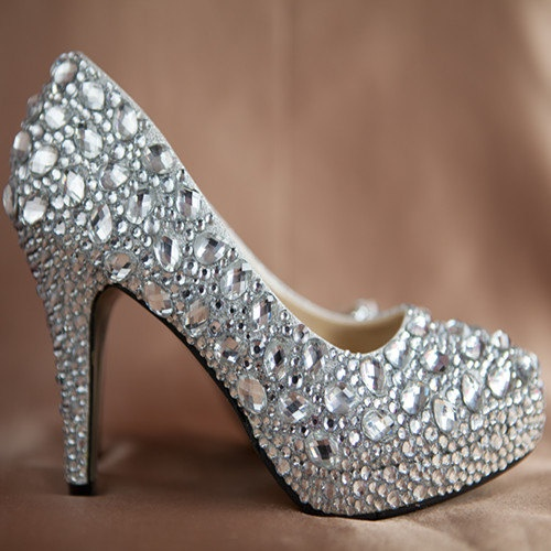 Bling Wedding Shoes Ivory Rhinestone Heels By GeminiSilverJewelry, $199.99