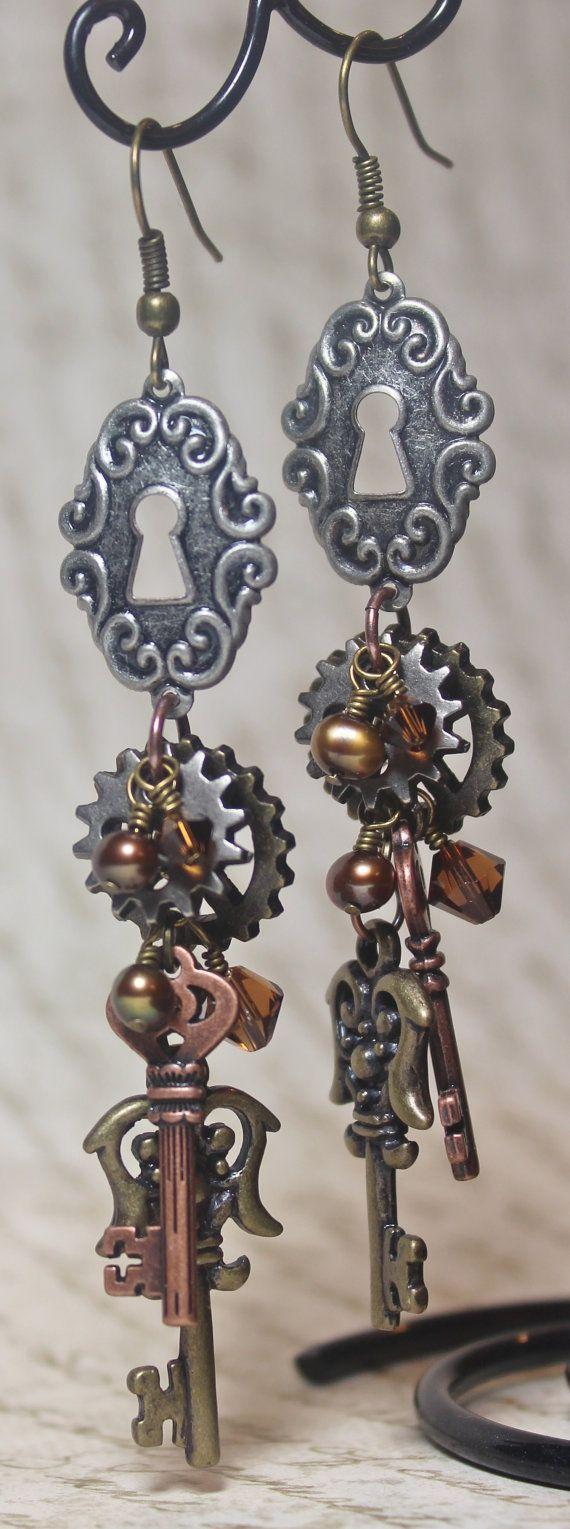 """""""Isabel"""" Steampunk Earrings $28.00, via Etsy."""