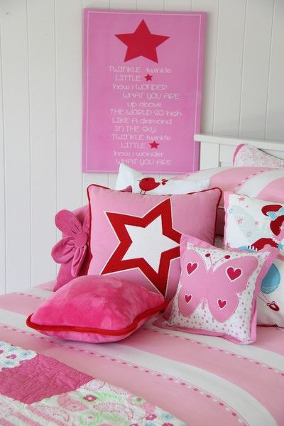 Create a 'stars' room with the twinkle star cushion & twinkle star canvas from Patersonrose