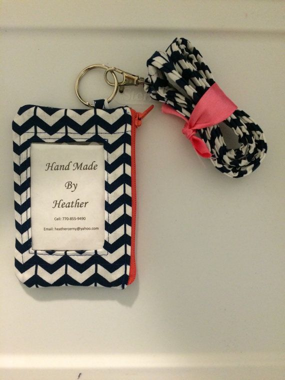 Hand Made Lanyard With ID Wallet in Navy and White Broken Chevron With Extra…