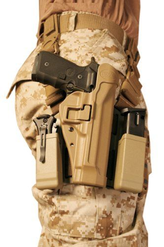 The modern equivalent of this is the tactical holster, a plastic case on canvas webbing that is positioned to allow the waist clearance for pouches and bum pack. This is the BLACKHAWK! Serpa Level 2 Tactical Holster with magazine holders from Amazon