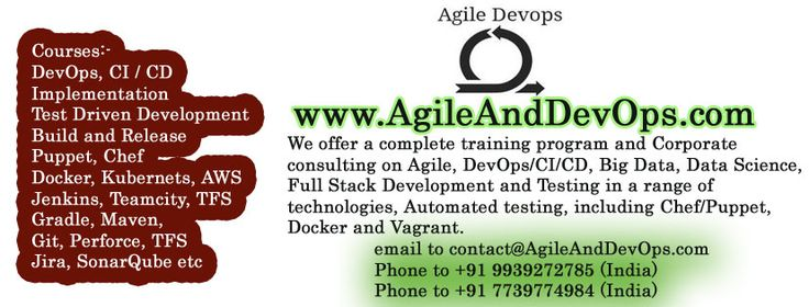We offer a complete training program and Corporate consulting on Agile, DevOps/CI/CD, Big Data, Data Science, Full Stack Development and Testing in a range of technologies, Automated testing, including Chef/Puppet, Docker and Vagrant. #Agile #DevOps #Training #Consulting #Testing #Courses