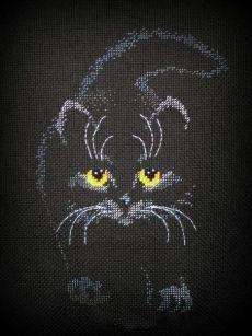 """örgü ve nakış Dünya - şeması siyah tuval üzerine nakış """"kedi"""""""