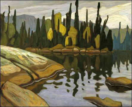 Lawren Harris (Canada 1885-1970), Shimmering Water, Algonquin Park, c. 1922. A member the Group of Seven who pioneered a distinctly Canadian painting style in the early 20th century. During the 1920s, Harris's works became more abstract and simplified; he also stopped signing and dating his works so people would judge them on their own merit and not by the artist or when they were painted. In 1969 he was made a Companion of the Order of Canada.