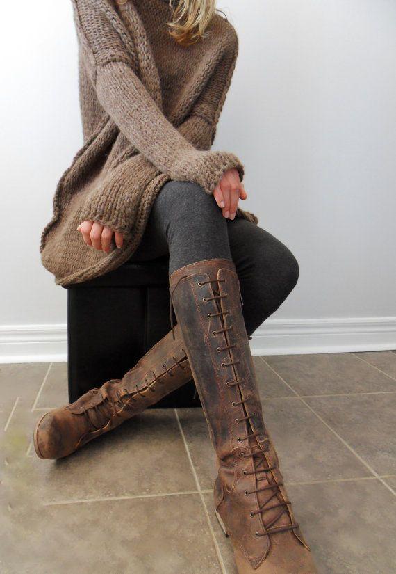 Chunky #ᏂᎯᏁᎴᏦᏁiᎿ sweater.  Slouchy / Bulky / Loose /Brown /alpaca/wool #ᏰᏫᏂᏫ