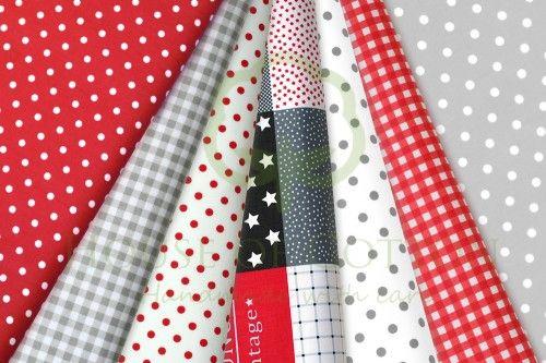 Gray & red marine patchwork cotton fabric set / Zestaw patchworkowy czerwony