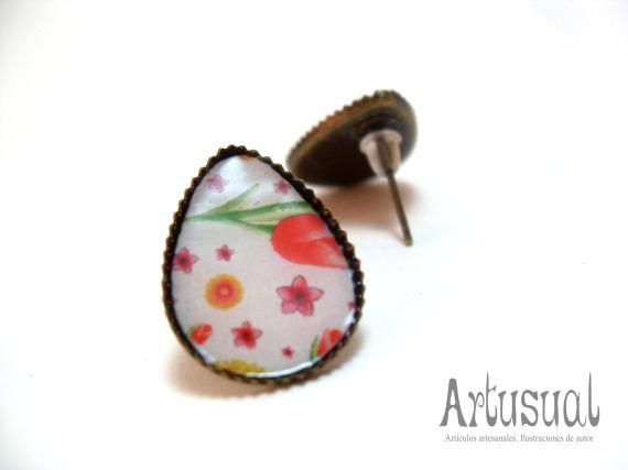"""Pendientes gota """"estampado floral"""" / Artusual - Artesanio"""