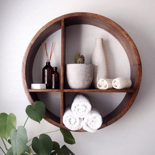 Round Shaped Wood Wall Shelf Beautiful Bathroom Cabinets Bathroom Cabinets Diy Home Decor Accessories