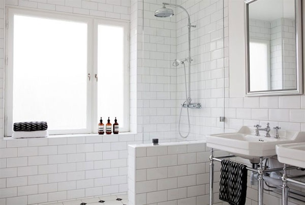 Excellent Hex Tiles Floor White Tile Brick Wall And Octopus Shower Curtain Im