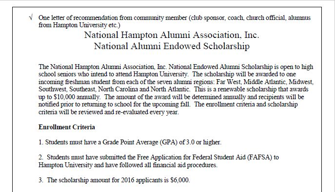 Pin by Merlin Henry Harper Jr on HAMPTON ALUMNI SCHOLARSHIP - scholarship acceptance letter
