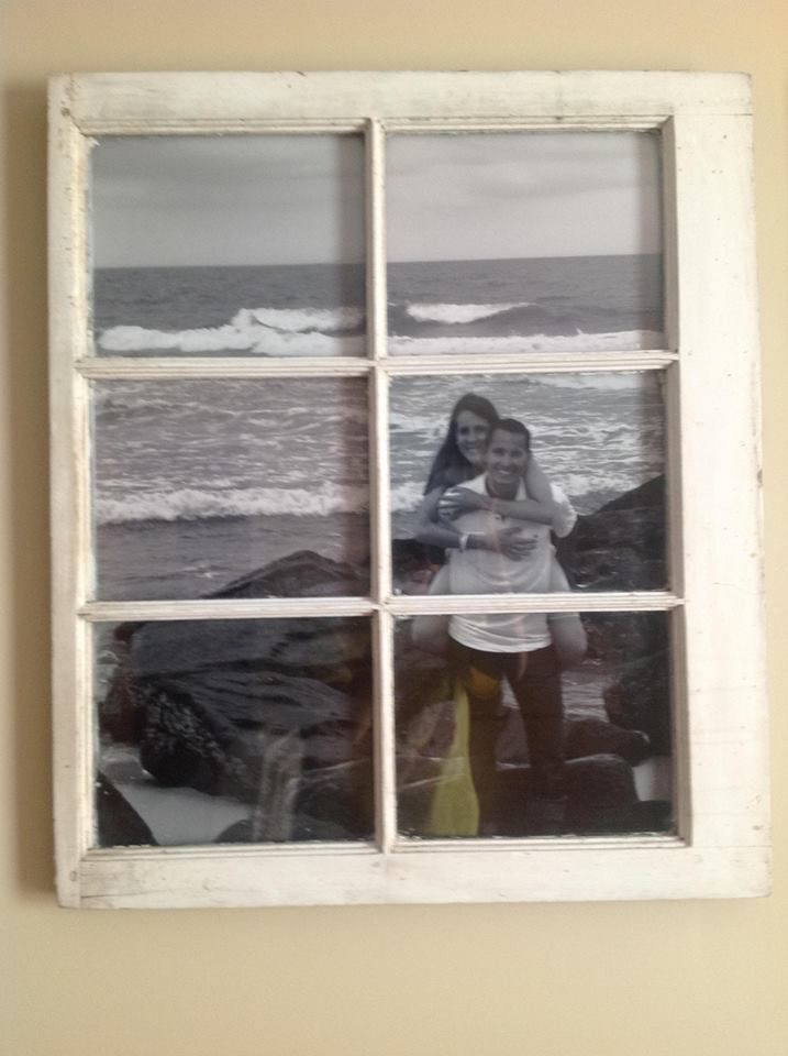 Old window as picture frame for engagement picture for Bungalow style picture frames