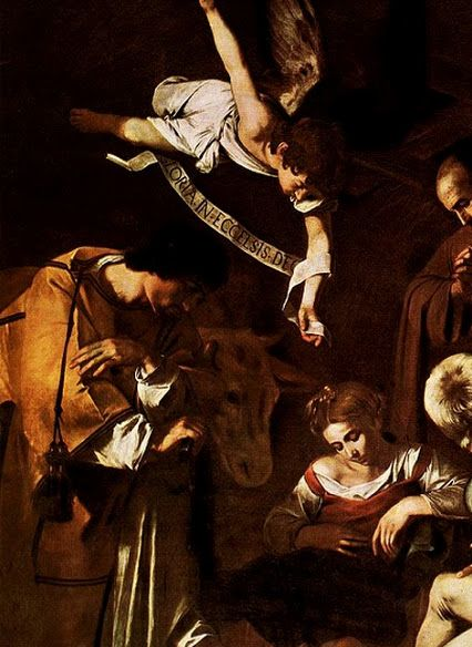 Caravaggio (1571-1610) - Nativity with St. Francis and St. Lawrence, c.1600-09