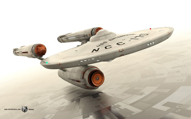 Another Jason Lee (Vektor Visual) render of a slightly modified original U.S.S. Enterprise (more views here: http://www.trekbbs.com/showthread.php?p=2826853 )