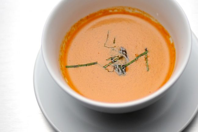 Carlos Gaytan showed us that simple can be superb with his fried red bell pepper soup with fennel, basil, and onion.Get recipes from 'Top Chef' NOLA here!