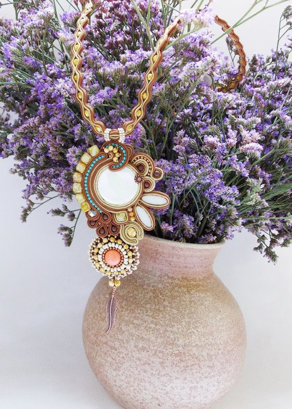 Soutache jewelry. Soutache necklace OOAK by Soutachebypanka