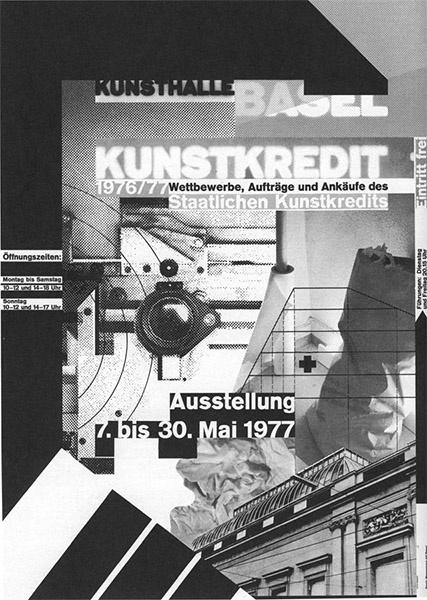 Cartel de Wolfgang Weingart para exposición (1977) Interesante uso del collage, combinando tipografía, formas geométricas, texturas y líneas.