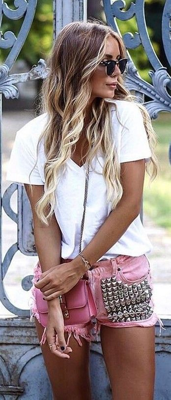 White Tee + Pink Studded Shorts