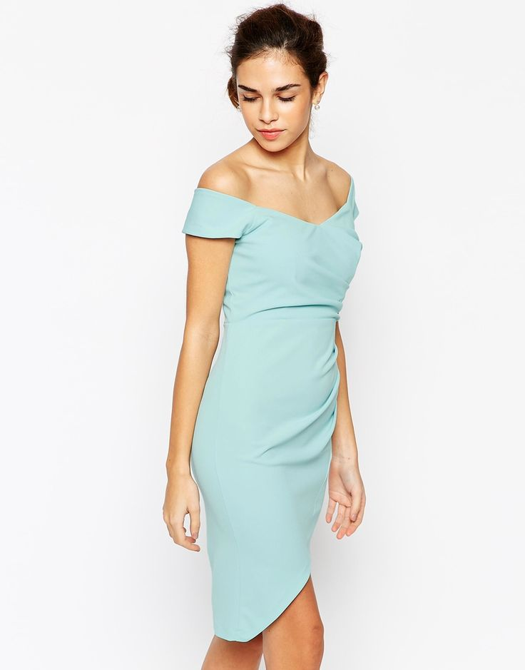 Elise Ryan Off Shoulder Pencil Dress With Asymmetric Wrap Skirt