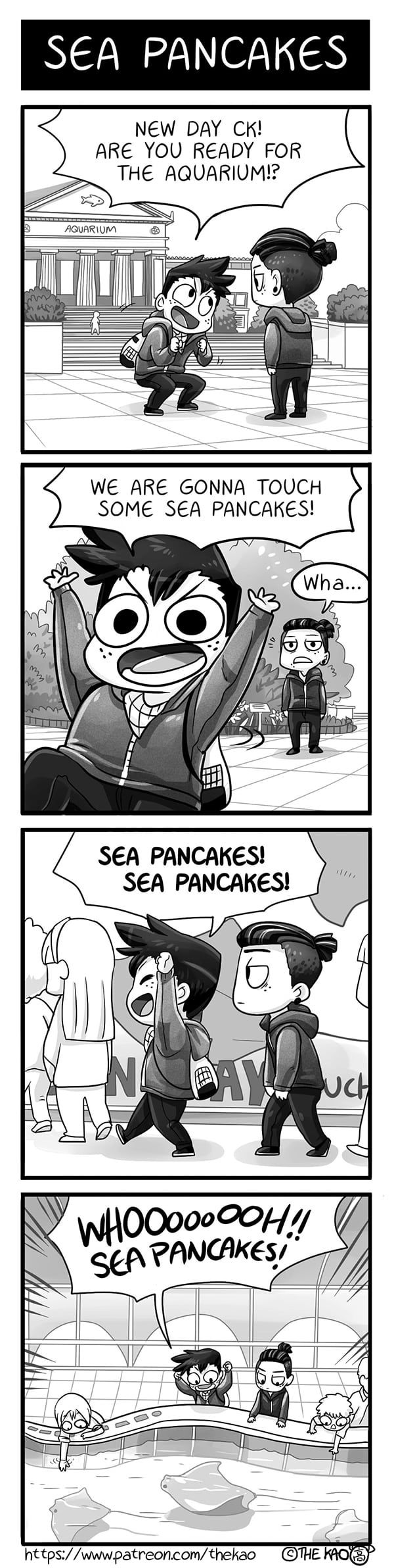 Mondo Mango :: Sea Pancakes | Tapastic Comics - image 1<<I went to an aquarium once and there was a section where you could touch the majestic sea flap-flaps, but I couldn't touch them because I was too short to reach any ;(