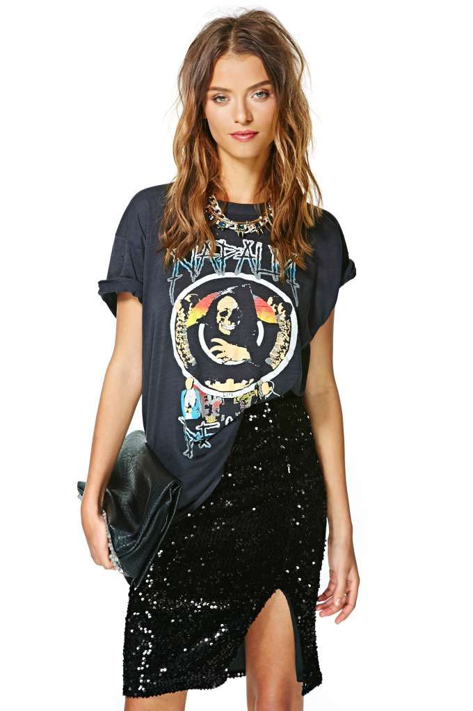 sequin skirt and band t-shirt