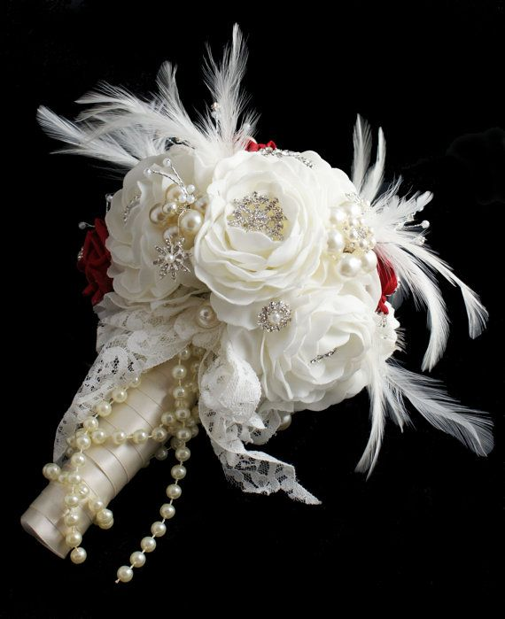 Brooch Bouquet  Jeweled Bouquet  Feather by savingfacejewellery, £95.00