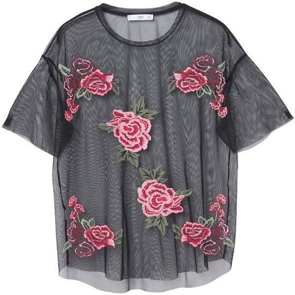 Roses Tulle T-Shirt (38 CHF) ❤ liked on Polyvore featuring tops, t-shirts, clothes - tops, shirts, embellished top, mango tee, round top, short sleeve tee and mango t shirt