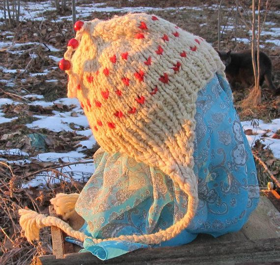 Handknit Child Teens Earflap Hat Off-White Ivory by Crystalheart