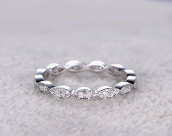 Natürlicher Diamant voller Ewigkeit Ehering solide 14K White